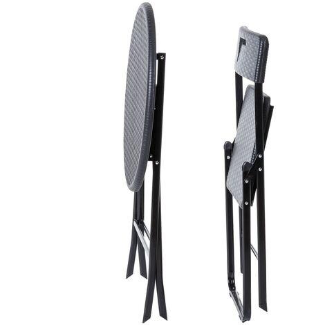 Conjunto mesa y 2 sillas de jardín Logic plegable negro de acero y rattán sintético