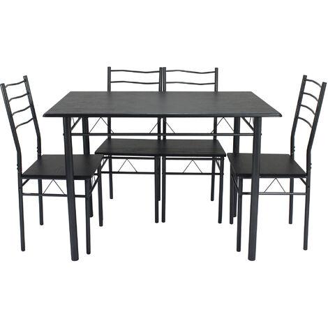"""main image of """"Conjunto Mesa y 4 sillas Comedor BARI Negro/Gris. Mesa 110 cm x 70 cm x 76 cm. Estructura metálica"""""""
