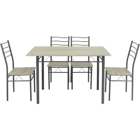 Conjunto Mesa y 4 sillas Comedor Lima Roble/Gris, Mesa 110 cm x 70 cm x 76 cm, Estructura metálica