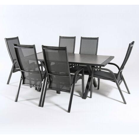 Conjunto mesa y sillas de exterior Aluminio color antracita, Mesa 180 cm + 6 sillones reclinables