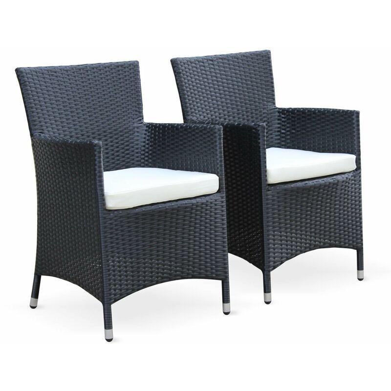 732ed7ec4bad Conjunto mesa y sillas de jardín Negro 6 plazas de Resina trenzada Aluminio  Vidrio templado, Arezzo | Alice's Garden - W2002NOIR