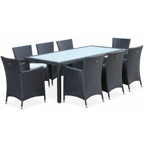 b6e7d05fb0d5 Conjunto mesa y sillas de jardin Negro 8 plazas de Aluminio Vidrio  templado, Capri