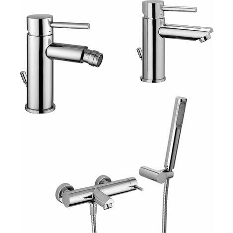Conjunto mezclador para lavabo - bidé y bañera Paffoni Stick KITSTICK2 | Cromo