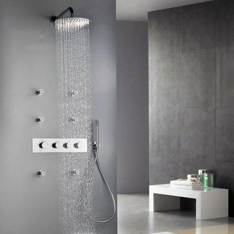 Conjunto moderno de ducha termostática con cabezal de lluvia montado en la pared con seis chorros de spray de 400 mm