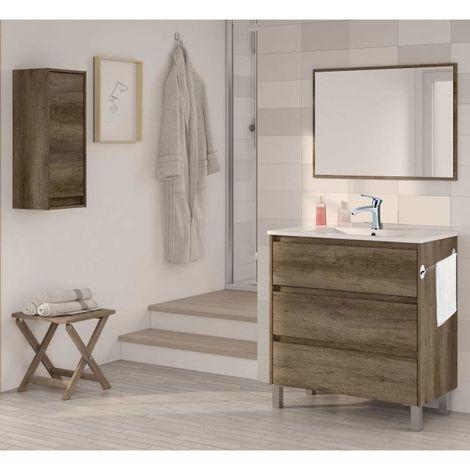 Conjunto Mueble Baño 2 cajones + lavabo + columna + Espejo + toallero+ grifería de Calidad