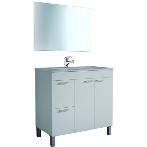 Conjunto Mueble Baño con Lavabo de PMMA (NO clásica Cerámica) Grifería Incluida, Mueble + espejo