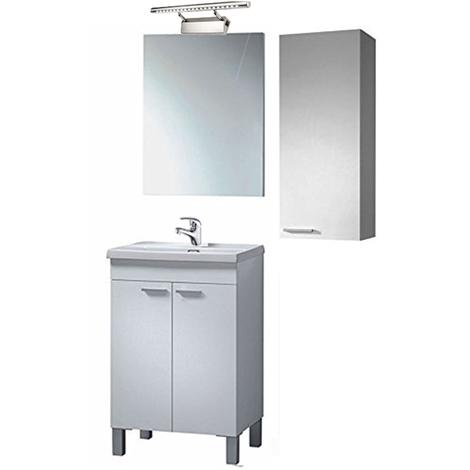 Conjunto Mueble Baño , Mueble + Espejo + Columna con Grifería y lámpara LED Incluida (Medida Especial)