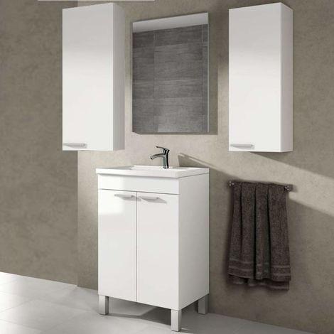 Conjunto Mueble de Baño 2 puertas + lavabo + 2 COLUMNAS INCLUIDAS + Espejo + Grifería de Calidad