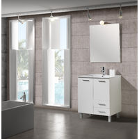 Conjunto Mueble de Baño 70 cm Seven Blanco - 2 puertas y 2 cajones, Espejo sin iluminación y lavabo cerámica