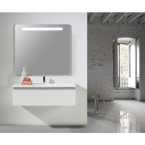 Conjunto Mueble de Baño Ana 80 cm blanco mate -2 cajones, Espejo retroiluminado Led y lavabo cerámica