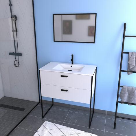 Conjunto mueble de baño+ - Blanco con patas estilo industrial - 2 Cajones - lavabo blanco