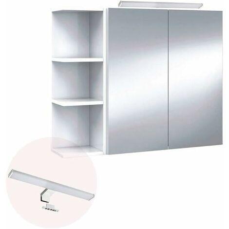 Conjunto Mueble de baño camerino 2 puertas con ESPEJO + ILUMINACIÓN LED incluida + 2 ESTANTERÍAS