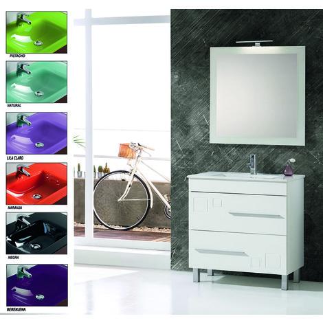 Muebles Bano Lavabo Cristal.Conjunto Mueble De Bano Claudia 80 Cm