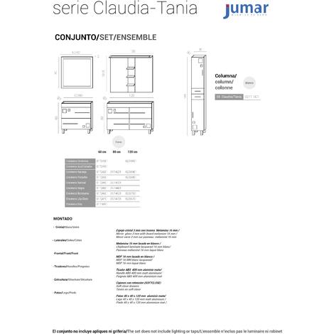 Conjunto Mueble de Baño CLAUDIA 80 CM Blanco - 2 cajones, Espejo sin iluminación y lavabo cerámica