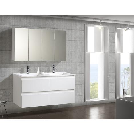 Conjunto Mueble de Baño Metrópolis 120 cm c/camerino Blanco - 4 cajones, Espejo sin iluminación y lavabo cerámica