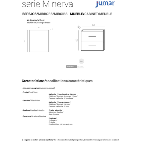 Conjunto Mueble de Baño Minerva 60 cm blanco -2 cajones, Espejo sin iluminación y lavabo cerámica