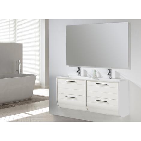 Conjunto Mueble de Baño Mireia 120 cm blanco - 2 cajones blanco, Espejo sin iluminación y lavabo cerámica