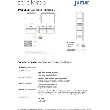 Conjunto Mueble de Baño Mireia 80 cm blanco/roble 2 cajones, Espejo sin iluminacón y lavabo cerámica
