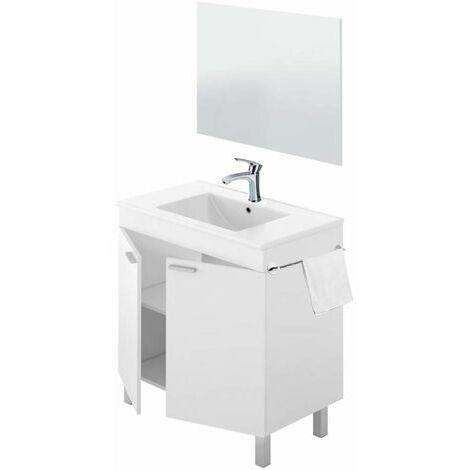 Conjunto Mueble de Baño Moderno con Espejo y Lavabo Metraquilato (No Clasica Cerámica) + TOALLERO y Grifería de Calidad INCLUIDA