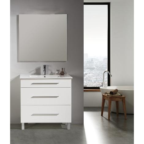 Conjunto Mueble de Baño NEREA 80 CM Blanco 3 cajones - Espejo sin iluminación y lavabo cerámica