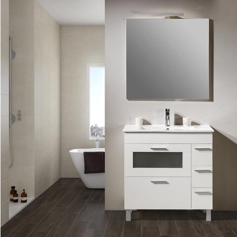 Conjunto Mueble de Baño Noa 80 cm Blanco -Espejo sin iluminación y lavabo cerámica