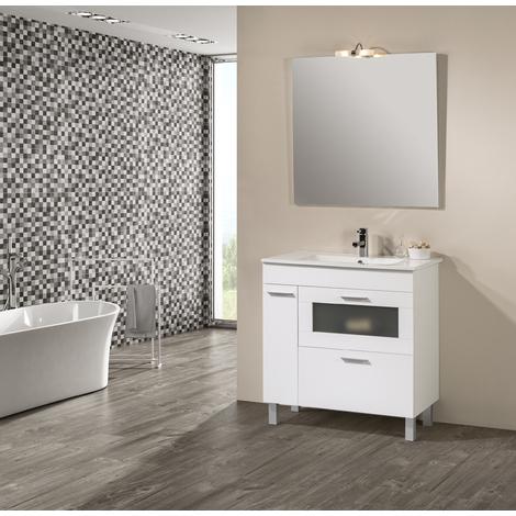 Conjunto Mueble de Baño Nova 80 cm Blanco -Espejo y lavabo cerámica