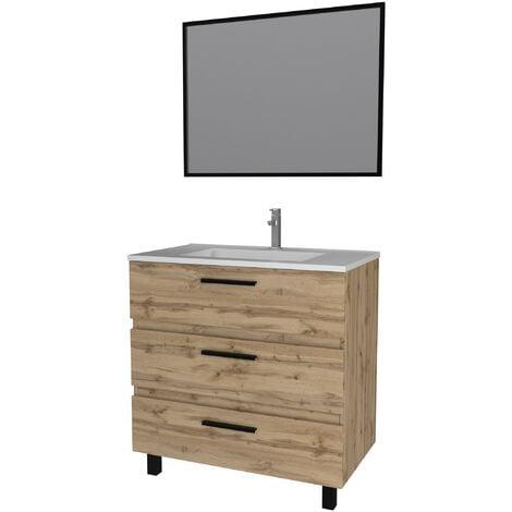 Conjunto mueble de baño - Roble industrial - Cajones -patas en aluminio negro mate - espejo