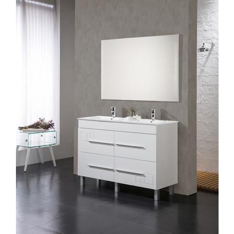 Conjunto Mueble de Baño Tania 120 cm Blanco - 4 cajones blanco, Espejo sin iluminación y lavabo cerámica