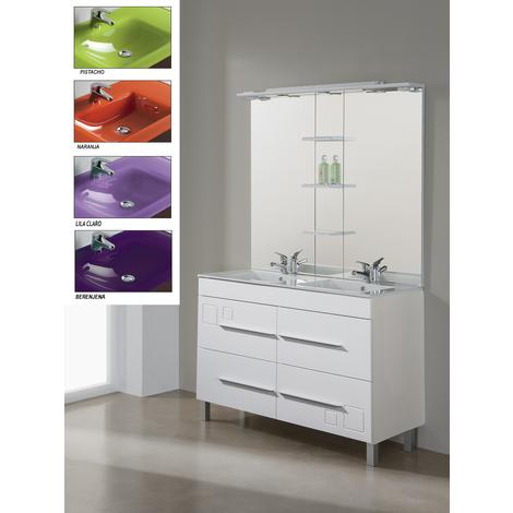Conjunto Mueble de Baño Tania 120 cm blanco, lavabo cristal Berenjena - Jumar