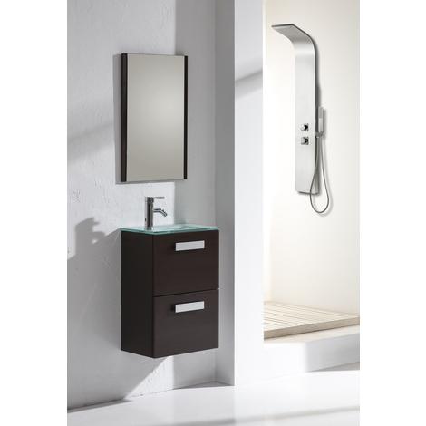 Conjunto Mueble de Baño Volga 45 cm Wengué - 2 cajones, Espejo y lavabo cristal natural - Jumar