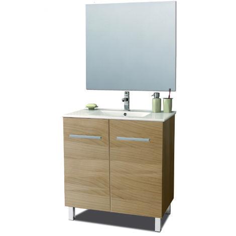 Conjunto mueble Krono, lavabo porcelana y espejo luna
