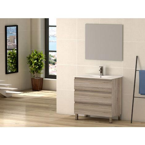 Conjunto mueble, lavabo de porcelana y espejo Ebro Cambrian