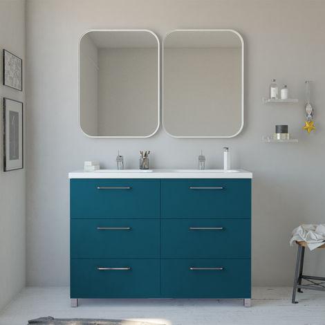 Conjunto mueble Nexo ancho 120 cm + lavabo moderno |Acabado lacado azul brillante. 6 cajones + lavabo de dos senos superior de cerámica.