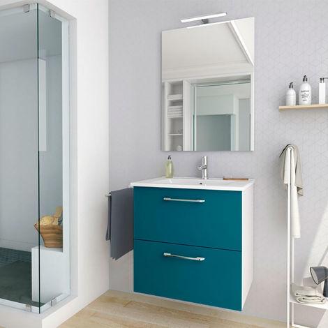 Conjunto mueble nexo ancho 60 cm + lavabo moderno |Acabado lacado azul brillante. 2 cajones + lavabo superior de cerámica.