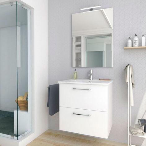 Conjunto mueble nexo ancho 60 cm + lavabo moderno |Acabado lacado blanco brillante. 2 cajones + lavabo superior de cerámica.