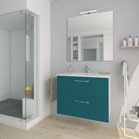 Conjunto mueble nexo ancho 80 cm + lavabo moderno |Acabado lacado azul brillante. 2 cajones + lavabo superior de cerámica.