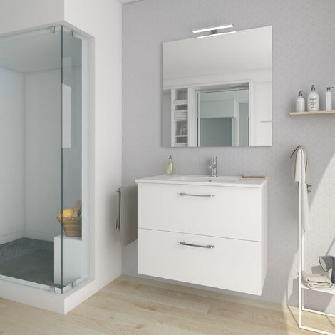 Conjunto mueble nexo ancho 80 cm + lavabo moderno |Acabado lacado blanco brillante. 2 cajones + lavabo superior de cerámica.
