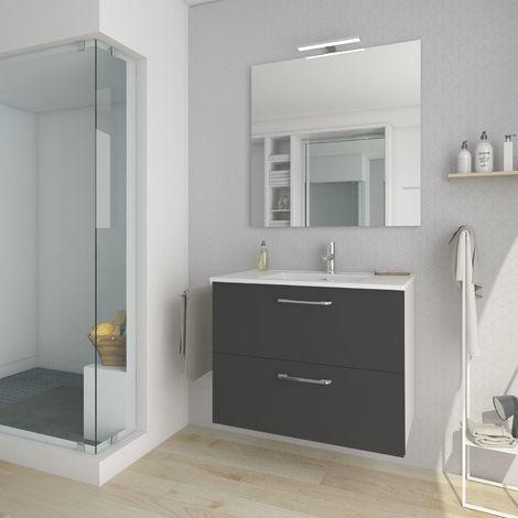 Conjunto mueble nexo ancho 80 cm + lavabo moderno |Acabado lacado gris brillante. 2 cajones + lavabo superior de cerámica.