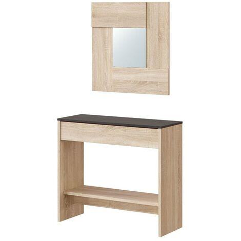 Conjunto mueble recibidor cajón espejo entrada pasillo estilo moderno industrial óxido 92x33x79 cm