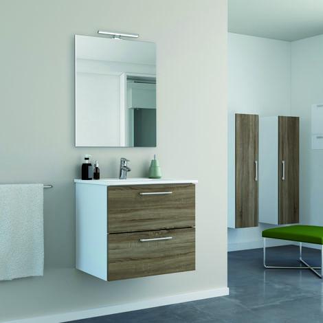Conjunto mueble Start 60 cm 2 cajones + lavabo cerámica + espejo minimalista / Acabado melamina efecto madera roble - Lacado blanco.
