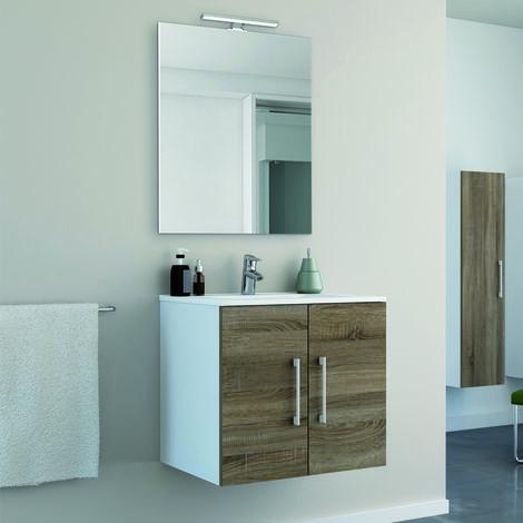 Conjunto mueble Start 60 cm 2 puertas + lavabo cerámica + espejo minimalista / Acabado melamina efecto madera roble - Lacado blanco.