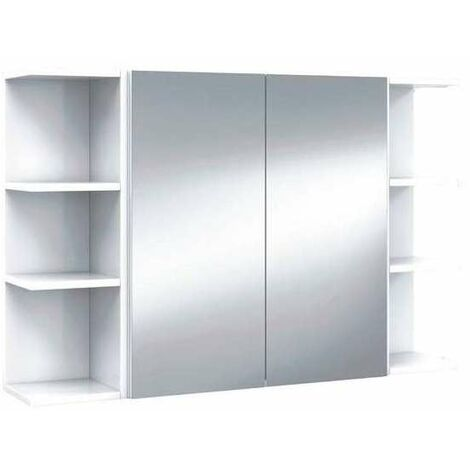 """main image of """"Conjunto muebles camerino Luz 2 puertas espejo y 2 rinconeros en acabado blanco brillo"""""""