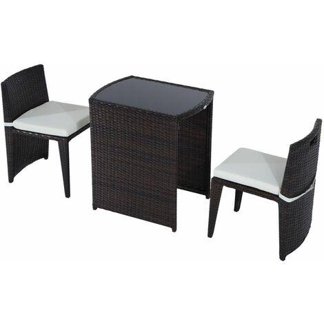 Conjunto Muebles de exterior Ratán Sintético - Marrón
