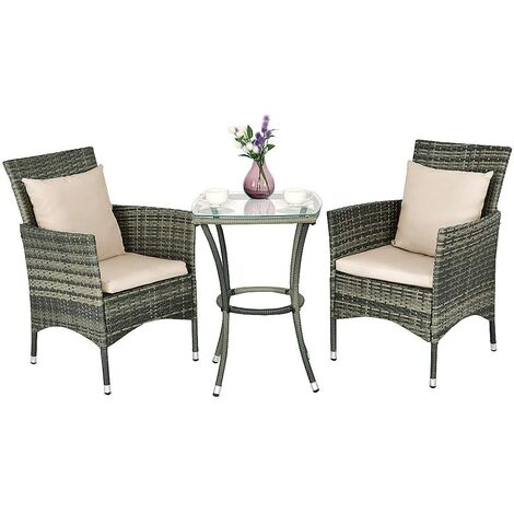f0cc0d44 Conjunto Muebles de Ratán para Jardín Terraza Patio Balcón 2 Sillas y 1 Mesa  con Cojines