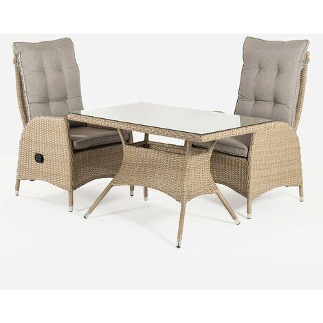 Conjunto muebles exterior | Mesa 120x70x74 cm y 2 sillones reclinables | Aluminio y rattán sintético plano color natural | 2 plazas | Cristal templado 5 mm | Portes gratis - Natural-plano