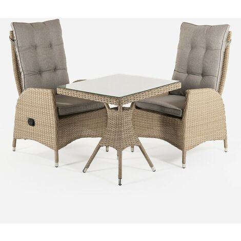 Conjunto muebles exterior | Mesa cuadrada 70 cm y 2 sillones reclinables | Aluminio y rattán sintético plano