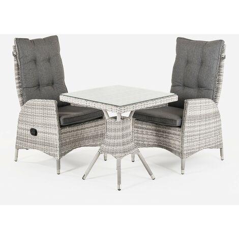 Conjunto muebles exterior | Mesa cuadrada 70 cm y 2 sillones reclinables | Aluminio y rattán sintético plano color gris | 2 plazas | Cristal templado 5 mm | Portes gratis - Gris-plano