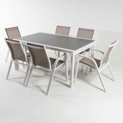 Conjunto muebles exterior | Mesa extensible 160/210 | Sillones apilable | 6 plazas | Aluminio blanco | Textilene taupé | Portes gratis
