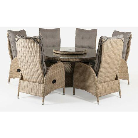 Conjunto muebles exterior | Mesa redonda 150 cm y 6 sillones reclinables | Aluminio y rattán sintético plano color natural | 6 plazas | Cristal templado 5 mm | Portes gratis - Blanco envejecido-redondo