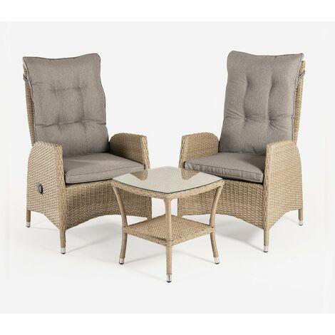 Conjunto muebles jardín | 2 sillones reclinables y 1 mesa auxiliar | 2 plazas | Aluminio y rattán sintético plano